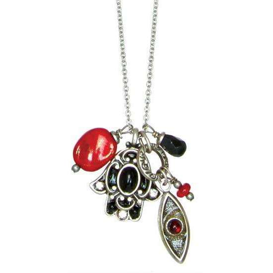 Michal Golan Black and Red Hamsa and Evil Eye Cluster Charm Necklace