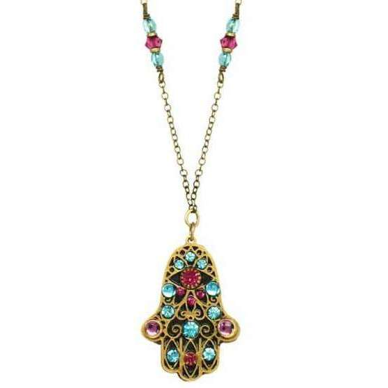 Michal Golan Black and Red Hamsa Necklace with Blue Crystals