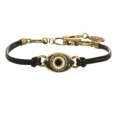 Michal Golan Black Evil Eye Bracelet on Leather