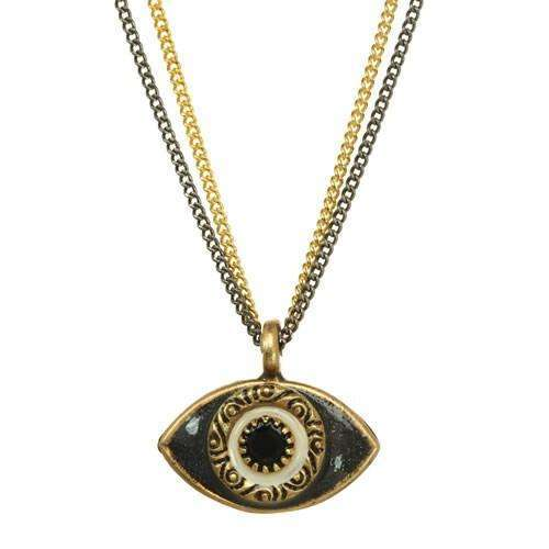 Michal Golan Black Evil Eye Double Strand Necklace