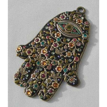 Michal Golan Black Floral Wall Hamsa with Swarovski Crystals