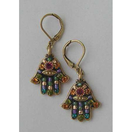 Michal Golan Black Hamsa Earrings