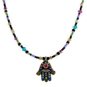 Michal Golan Black Hamsa Necklace