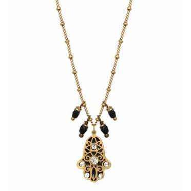 Michal Golan Black Hamsa Necklace With Dangles