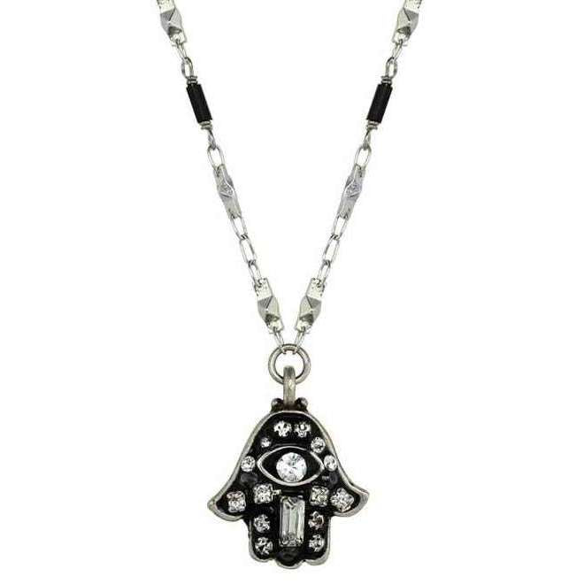 Michal Golan Black Hamsa Necklace With Evil Eye