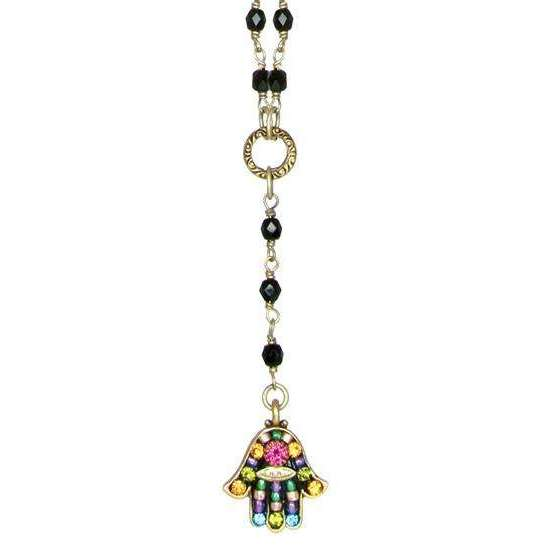 Michal Golan Black Multi Color Drop Pendant Hamsa Necklace