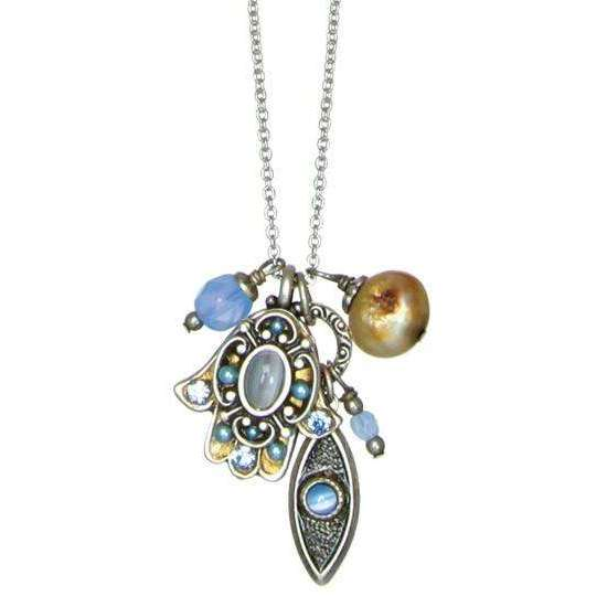 Michal Golan Blue Cat's Eye Hamsa and Evil Eye Cluster Charm Necklace
