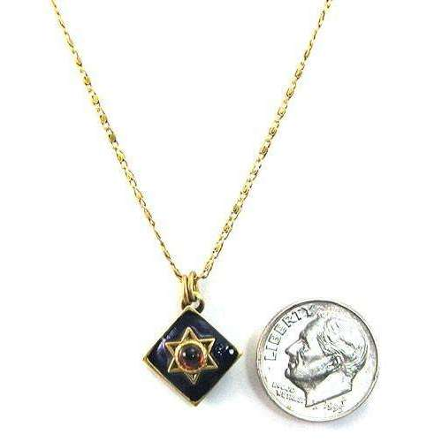 Michal Golan Blue Diamond Star of David with Garnet