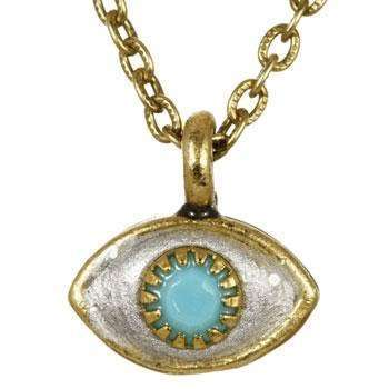 Michal Golan Blue, Gold and Silver Evil Eye Pendant Necklace