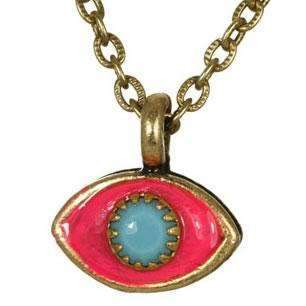 Michal Golan Blue, Hot Pink and Gold Evil Eye Pendant Necklace