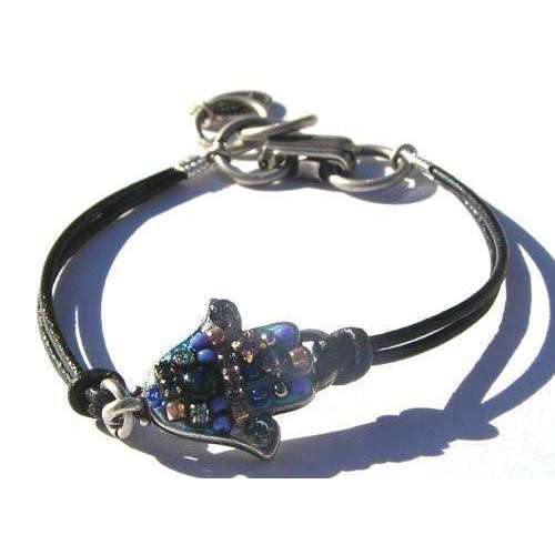 Michal Golan Blue Sea Hamsa Bracelet On Leather