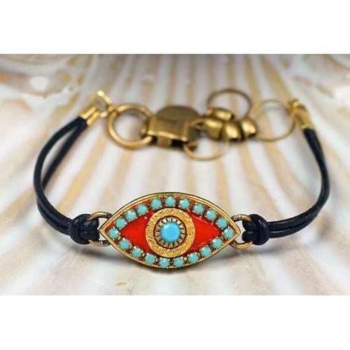 Michal Golan Blue Stone and Coral Leather Evil Eye Bracelet