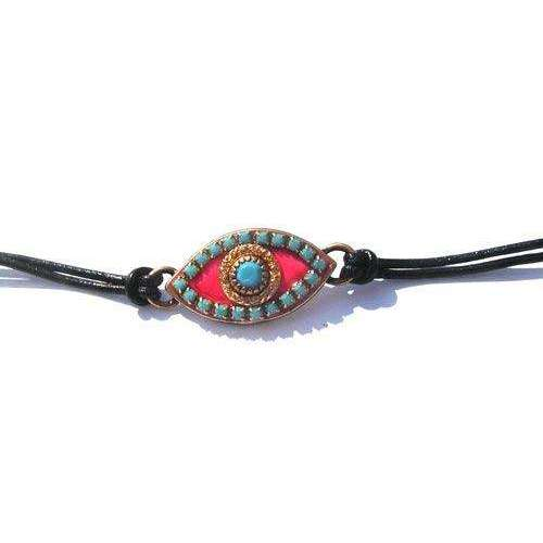Michal Golan Blue Stone and Hot Pink Evil Eye Wrap Bracelet