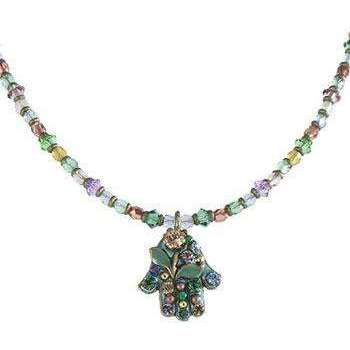 Michal Golan Blue/Green Hamsa Necklace