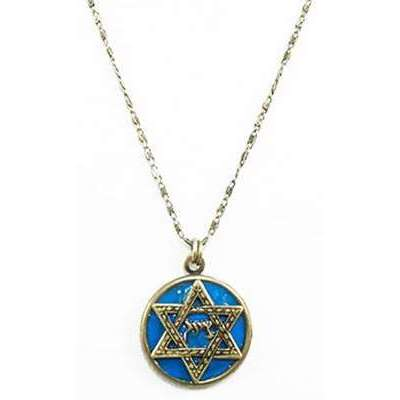 Michal Golan Bright Blue Jewish Star Necklace