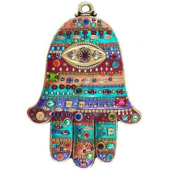 Michal Golan Brightly Colored Swarovski Crystal Hamsa Hand Wall Plaque