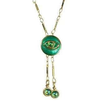 Michal Golan Brilliant Green and Gold Evil Eye Round Pendant Necklace with Round Drop Beads