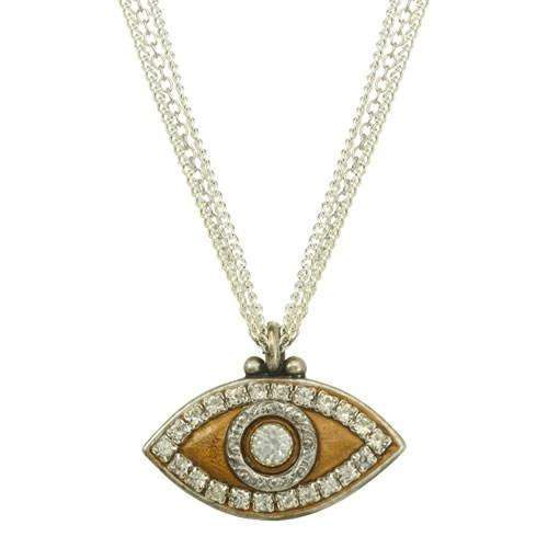 Michal Golan Bronze and Silver Evil Eye Triple Strand Necklace