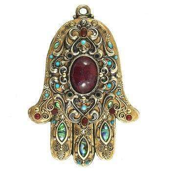Michal Golan Carnelian and Abalone Shell Wall Hamsa