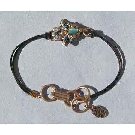 Michal Golan Cat's Eye Hamsa Bracelet On Leather