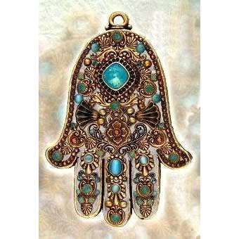 Michal Golan Cat's Eye, Pacific Opal and Topaz Wall Hamsa