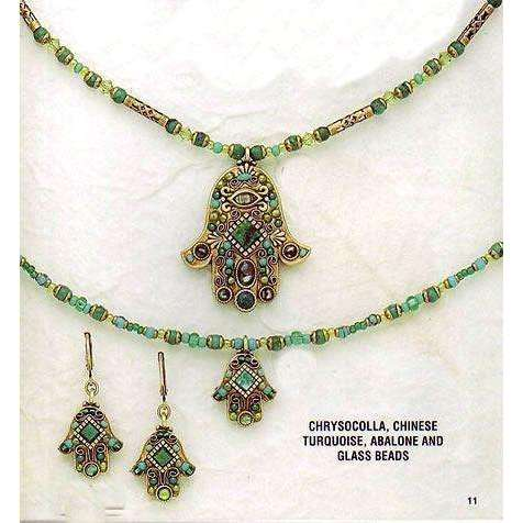 Michal Golan Chrysocolla, Chinese Turquise, Abalone and Glass Beads Hamsa Necklace