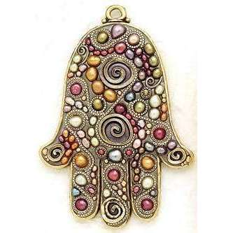 Michal Golan Colorful Freshwater Pearl Wall Hamsa