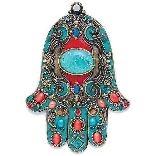 Michal Golan Coral and Teal Wall Hamsa