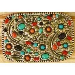 Michal Golan Coral, Turquoise and Onyx Belt Buckle