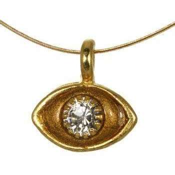 Michal Golan Crystal, Amber and Gold Evil Eye Pendant Necklace