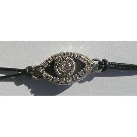 Michal Golan Crystal and Black Evil Eye Charm Bracelet
