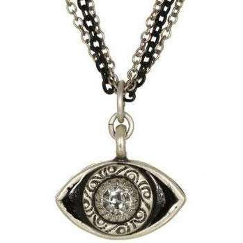 Michal Golan Crystal and Black Evil Eye Pendant Necklace