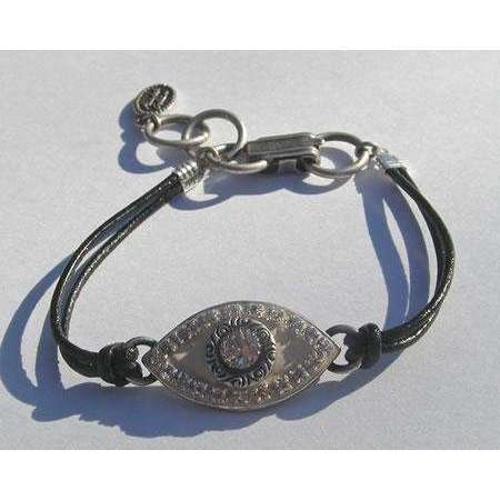 Michal Golan Crystal and Enamel Evil Eye Bracelet
