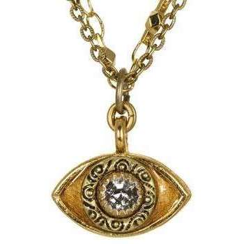 Michal Golan Crystal and Gold Evil Eye Charm Necklace
