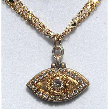 Michal Golan Crystal and Gold Evil Eye Necklace
