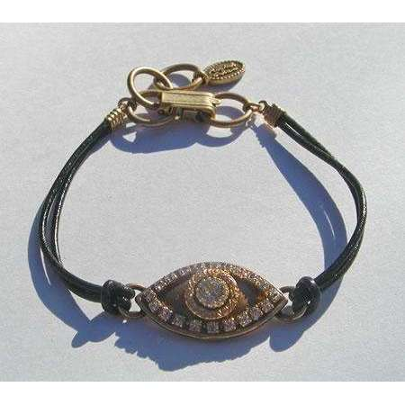 Michal Golan Crystal and Gold Tone Evil Eye Charm Bracelet