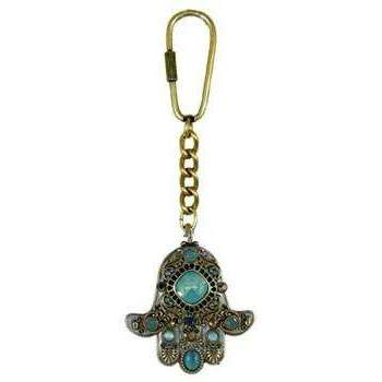Michal Golan Crystal and Pacific Opal Hamsa Keychain