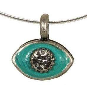 Michal Golan Crystal and Teal Evil Eye Pendant Necklace