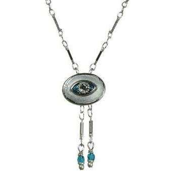 Michal Golan Crystal, Aqua and Silver Evil Eye Oval Pendant with Drop Beads
