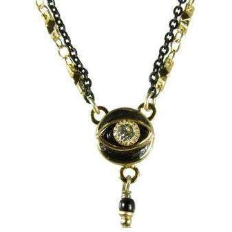 Michal Golan Crystal, Black and Gold Round Evil Eye Necklace With Drop Bead