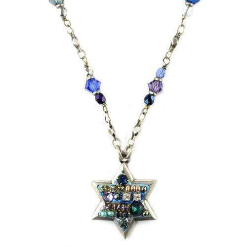 Michal Golan Crystal Blue Mosaic Star of David Necklace