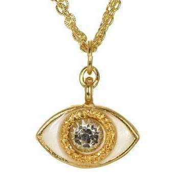 Michal Golan Crystal, Gold and Enamel Evil Eye Charm Necklace