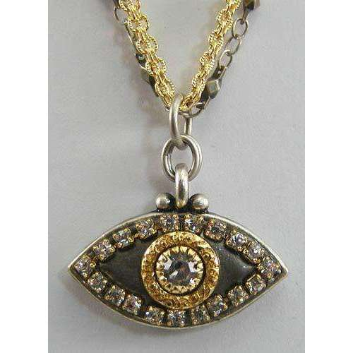 Michal Golan Crystal, Gold and Silver Evil Eye Pendant Necklace