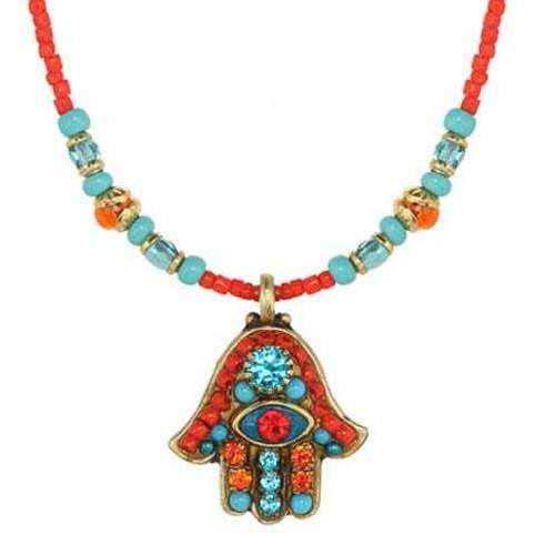 Michal Golan Crystal Hamsa Necklace in Orange and Blue with Evil Eye