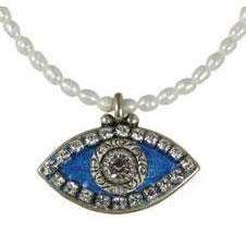 Michal Golan Crystal, Sapphire and Pearl Evil Eye Pendant and Beaded Necklace
