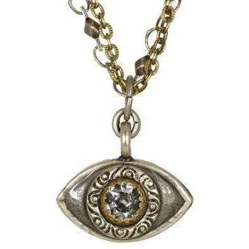 Michal Golan Crystal, Silver and Gold Evil Eye Charm Necklace