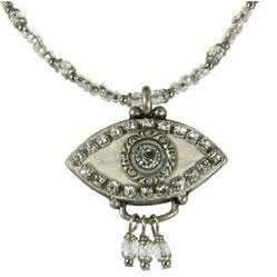 Michal Golan Crystal, Silver and White Evil Eye Pendant and Beaded Necklace With Drop Beads