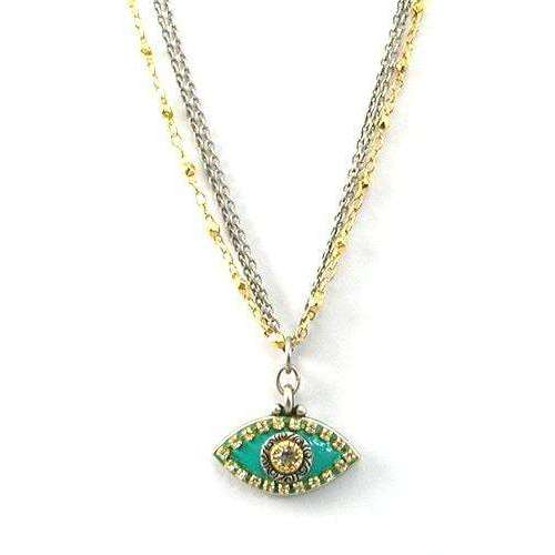 Michal Golan Crystal Stone and Turquoise Evil Eye Pendant Necklace
