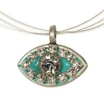 Michal Golan Crystal Stones and Teal Evil Eye Pendant Necklace
