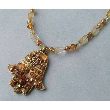 Michal Golan Crystal & Topaz Hamsa Necklace